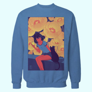 anime lofi aesthetic blue sweater